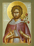 Byzantine Painting Posters - St Euphrosynos the Cook Poster by Julia Bridget Hayes