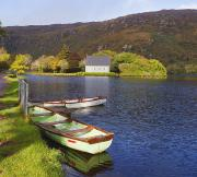 Gougane Barra Church Photos - St. Finbarres Oratory And Rowing Boats by Ken Welsh