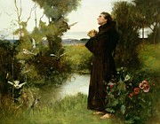 Halo Painting Framed Prints - St. Francis Framed Print by Albert Chevallier Tayler
