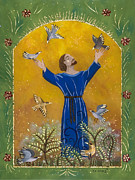 Francis Painting Posters - St. Francis and Birds Poster by Sue Betanzos