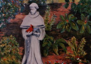 St. Francis Of Assisi Prints - St Francis In The Garden Print by Marita McVeigh