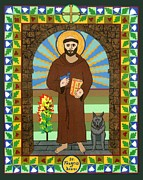 Assisi Mixed Media Framed Prints - St. Francis of Assisi Icon Framed Print by David Raber