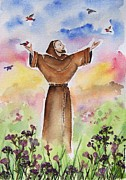 Catholic Paintings - St Francis of Assisi by Regina Ammerman