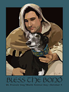 Francis Framed Prints - St. Francis with Greyhound Framed Print by Kris Hackleman