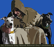 Greyhound Digital Art Prints - St. Francis with Two Greyhounds Print by Kris Hackleman