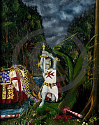 Templar Paintings - St George and the Dragon by John Palliser