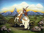 St George Painting Framed Prints - St. George and the Dragon Framed Print by Louise Udovich