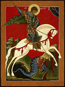Egg Tempera Painting Prints - St George and the Dragon Print by Raffaella Lunelli