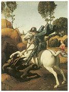 St George Painting Framed Prints - St. George and the Dragon Framed Print by Raffaello Sanzio