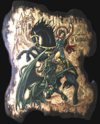 Byzantine Mixed Media - st George fighting the Dragon by Iosif Ioan Chezan