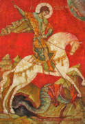 Byzantine Painting Posters - St George II Poster by Tanya Ilyakhova