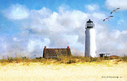 Dolphins Digital Art - St. George Island Lighthouse by Rhonda Strickland