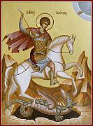 Byzantine Painting Posters - St George Poster by Julia Bridget Hayes