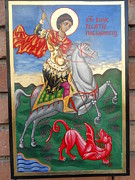 Orthodox Painting Originals - St George slying the dragon by Jelio Jelev