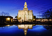 St George Prints - St George Temple Reflection Print by La Rae  Roberts