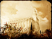 Aged Photo Posters - St George Temple Roses Poster by La Rae  Roberts