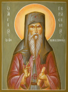 Byzantine Painting Prints - St Gerasimos of Kefalonia Print by Julia Bridget Hayes