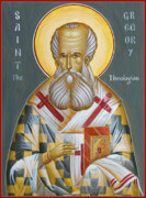 Egg Tempera Painting Metal Prints - St Gregory the Theologian Metal Print by Julia Bridget Hayes