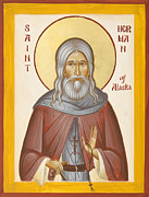 Kodiak Painting Posters - St Herman of Alaska Poster by Julia Bridget Hayes