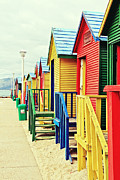 Wooden Structures Prints - St James Beach Huts Print by Benjamin Matthijs