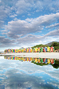 Beach Huts Framed Prints - St James Beach Huts South Africa Framed Print by Neil Overy
