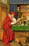 Desk Framed Prints - St. Jerome in his Study  Framed Print by Jan van Eyck