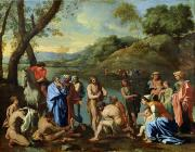 Baptism Painting Framed Prints - St John Baptising the People Framed Print by Nicolas Poussin