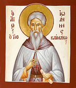 Ladder Of Divine Ascent Posters - St John Climacus Poster by Julia Bridget Hayes