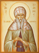 Byzantine Painting Prints - St John of Damascus Print by Julia Bridget Hayes
