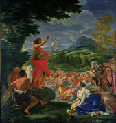 Women Children Painting Framed Prints - St John the Baptist Preaching Framed Print by II Baciccio - Giovanni B Gaulli