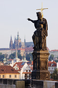Charles Bridge Prints - St John the Baptist Statue Print by Jeremy Woodhouse