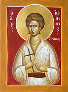 Icon Byzantine Painting Posters - St John the Russian Poster by Julia Bridget Hayes