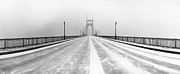 Straight Photos - St. Johns Bridge In Snow by Zeb Andrews