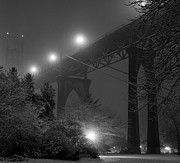 Illuminated Tapestries Textiles Metal Prints - St. Johns Bridge On Snowy Evening Metal Print by Zeb Andrews