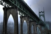 Thelightscene Prints - St Johns Bridge Oregon Print by Bob Christopher