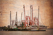 Jacksonville Art Framed Prints - St Johns Shrimping Framed Print by Debra and Dave Vanderlaan