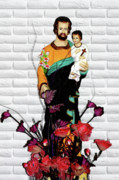 Saint Joseph Posters - St Joseph holding Baby Jesus - Catholic Church Qibao China Poster by Christine Till