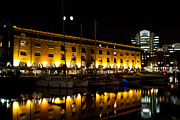 Old Inns  Framed Prints - St Katherines Dock London night View Framed Print by David Pyatt