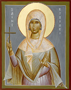 Icon Byzantine Posters - St Kyriaki Poster by Julia Bridget Hayes