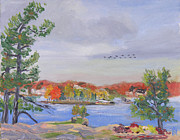 Alexandria Paintings - St Lawrence River View From Recreation Park by Robert P Hedden