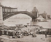 River Transportation Framed Prints - St. Louis Bridge Under Construction Ca Framed Print by Everett
