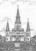 Photocopy Prints - St Louis Cathedral Above Jackson Square New Orleans Black and White Photocopy Digital Art Print by Shawn OBrien