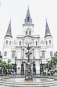 Big Easy Framed Prints - St Louis Cathedral and Fountain Jackson Square French Quarter New Orleans Colored Pencil Digital Art Framed Print by Shawn OBrien