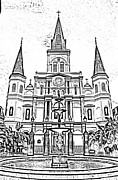 Photocopy Metal Prints - St Louis Cathedral and Fountain Jackson Square French Quarter New Orleans Photocopy Digital Art Metal Print by Shawn OBrien