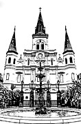Jackson Square Prints - St Louis Cathedral and Fountain Jackson Square French Quarter New Orleans Stamp Digital Art Print by Shawn OBrien