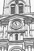 Photocopy Prints - St Louis Cathedral Clock Jackson Square New Orleans Black and White Photocopy Digital Art Print by Shawn OBrien