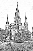 St Louis Cathedral Jackson Square French Quarter New Orleans Photocopy Digital Art  Print by Shawn OBrien