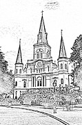 Photocopy Prints - St Louis Cathedral Jackson Square French Quarter New Orleans Photocopy Digital Print by Shawn OBrien
