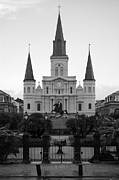 Travelpixpro Posters - St Louis Cathedral on Jackson Square in the French Quarter New Orleans Black and White Poster by Shawn OBrien