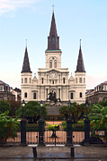 Statue Portrait Digital Art - St Louis Cathedral on Jackson Square in the French Quarter New Orleans Film Grain Digital Art by Shawn OBrien